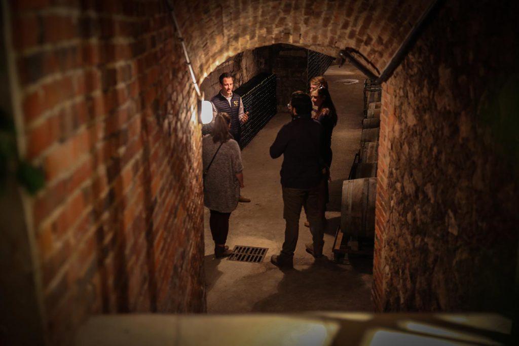 Cellar Tour and explanaton fo the process via Sparkling Tour